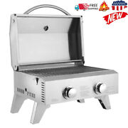 Portable 2 Burner Stainless Steel Bbq Tabletop Propane Gas Grill Outdoor Camping