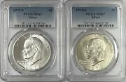 1972 S And 1974 S Eisenhower Ike Silver Dollars Pcgs Ms67 2 Coin Set