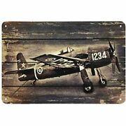 Aoyego Airplane Tin Sign, Old Print On The Retro Wooden Vintage Metal Signs Bars