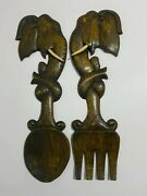 Vintage Hand-carved Wood Fork And Spoon Wall Kitchen Decor Wall Art Hanger Plaque