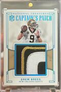 2017 National Treasures Drew Brees Captainand039s Patch /4 Game-used Saints Hof
