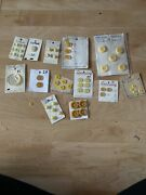 Luscious Lot Vintage And New Yellow Buttons Casein Pierced Flower Plastic +