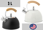 3l Whistling Teakettle Stainless Steel Water Kettle Wood Handle Stove Top Bandw