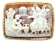 Carved Shell And 14ct Yellow Gold Cameo Brooch Antique Victorian Circa 1900