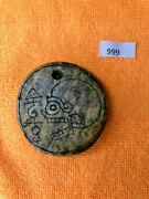 Ojuelos Jalisco Ancient Precolumbian Huge Double Sided Alien Pendant With Skull