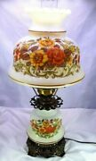 Quoizel Inc.3 Way Hurricane Portable Brass Glass Electric Table Lamp Floral1977