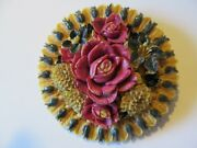 Vintage Extra Large Handpainted Of Various Floral Motif Celluloid Brooch Pin
