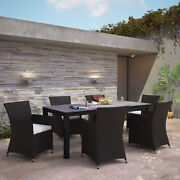 7pc Outdoor Patio Backyard Furniture Wicker Rattan Dining Set In Brown White