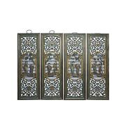 Chinese Color Painted 8 Immortal Figures Wooden Wall 4 Panels Set Cs6054