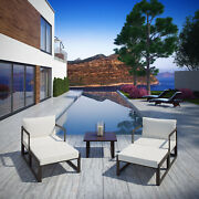 5pc Outdoor Patio Furniture Aluminum Cushioned Sectional Sofa Set In Brown White