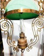 Antique Vintage Victorian Seafoam Green Glass Lamp With Oil Lamp Also Wired E-