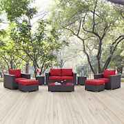 8pc Wicker Rattan Cushioned Outdoor Patio Sofa Set In Espresso Red