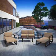 9pc Outdoor Patio Furniture Aluminum Cushioned Sectional Sofa Set In Brown Mocha
