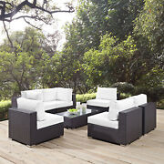 7pc Wicker Rattan Cushioned Outdoor Patio Sectional Set In Espresso White