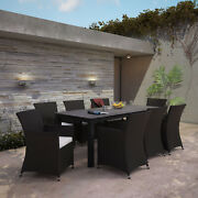 9pc Outdoor Patio Backyard Furniture Wicker Rattan Dining Set In Brown White
