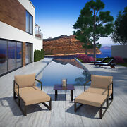 5pc Outdoor Patio Furniture Aluminum Cushioned Sectional Sofa Set In Brown Mocha