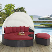 Outdoor Patio Furniture Wicker Rattan Canopy Daybed In Espresso Red