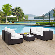 5pc Wicker Rattan Cushioned Outdoor Patio Sectional Set In Espresso White