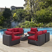7pc Wicker Rattan Cushioned Outdoor Patio Sectional Set In Espresso Red