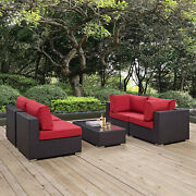 5pc Wicker Rattan Cushioned Outdoor Patio Sectional Set In Espresso Red