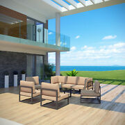 8pc Outdoor Patio Furniture Aluminum Cushioned Sectional Sofa Set In Brown Mocha