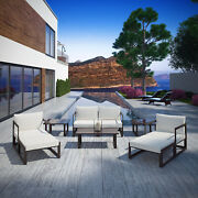 9pc Outdoor Patio Furniture Aluminum Cushioned Sectional Sofa Set In Brown White