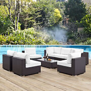 8pc Wicker Rattan Cushioned Outdoor Patio Sectional Set In Espresso White