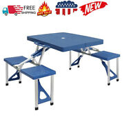 Siamese Folding Tables Portable Plastic Indoor Outdoor Bbq Picnic Party Camp Us