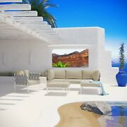 6pc Aluminum Outdoor Patio Cushioned Sectional Sofa Furniture Set In White Beige