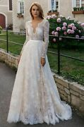 Sexy Illusion Wedding Dresses Long Sleeve Backless Full Laced Brush Train Zipper