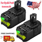 2pack P108 18v 6.0ah Battery Compatible With Ryobi 18v One+ Cordless Power Tools