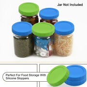 Colored Plastic Mason Jar Lids For Wide Mouth Mason Canning Jars Cup 8 Pack