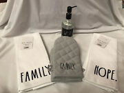 Rae Dunn Lot 2 Gray Oven Mini Mitts 4 Kitchen Towels Rosemary Mint Hand Soap