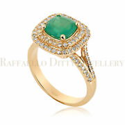 Diamond And Emerald Cocktail Ring In 14k Solid Gold Halo Split Shank 1.91 Ctw 5.2g
