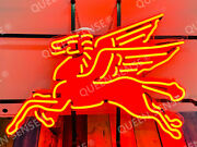 New Mobil Gas Flying Pegasus Horse Bar Light Neon Sign 24x20 With Hd Vivid