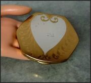 Large Collectible Vintage Elgin American U.s.a. Heart Design Powder Compact