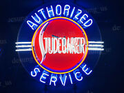New Studebaker Authorized Service Light Lamp Neon Sign 24x24 With Hd Vivid