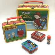 4 Metal Lunchboxes - Pez Peanuts Superman Howdy Doody W/thermos 1998-2002
