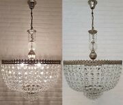 Matching Pair Of Antique Vintage Brass And Crystals Giant Chandeliers 20 Inches Andoslash