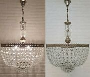 Matching Pair Of Antique Vintage Brass And Crystals Giant Chandeliers 20 Inches Ø