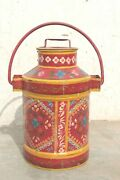Old Vintage Handmade Iron Milk Pail Can Antique Indian Decor Collectible Bn-31