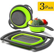 Longzon Collapsible Colander Silicone [ Set Of 3 ] Over The Sink Strainers 6 -