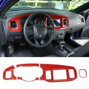 7and039and039 Red Center Console Dashboard Cover Decor Panel Trim For Dodge Charger 2015+