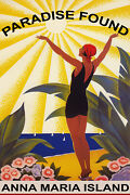 Florida Beach Woman Saluting The Sun Summer Travel Vintage Poster Repro Free S/h