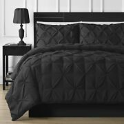 Double Needle Durable Stitching Comfy Bedding 3-piece Pinch Pleat Comforter Set
