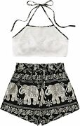 Shein Women's Floral Twopiece Sleeveless Halter Lace Cami Crop Top And Short Set