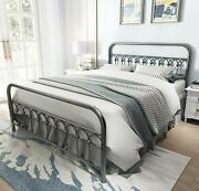Vintage Sturdy Queen Size Metal Bed Frame With Headboard And Footboard Basic Bed