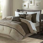 Madison Park Palisades Queen Size Bed Comforter Set Bed In A Bag - Brown, Taupe