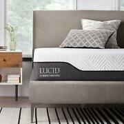 Lucid 10 Inch Queen Hybrid Mattress - Bamboo Charcoal And Aloe Vera Infused Memo