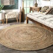 Nuloom Rigo Hand Woven Jute Rug 4and039 Round Natural